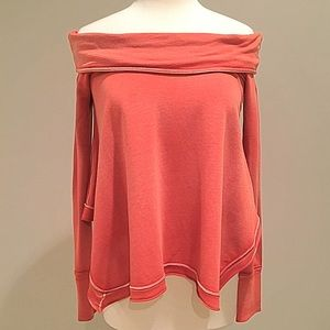 Free People Cowl Neck Off Shoulder Sweatshirt XS